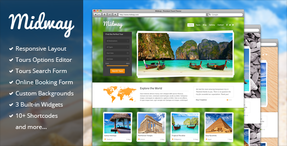 Mẫu thiết kế website du lịch đẹp Midway - Responsive Travel WP Theme