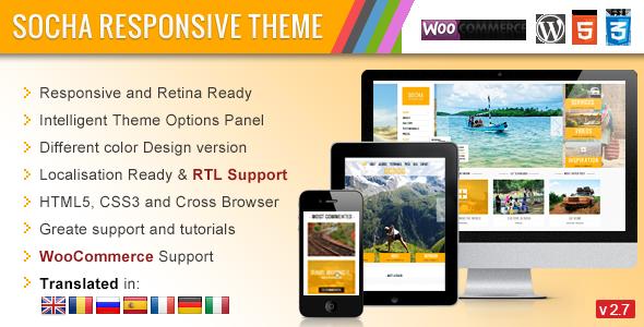 Mẫu thiết kế website du lịch đẹp Socha Responsive WordPress Theme
