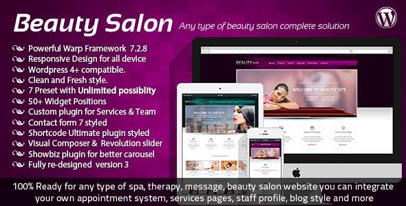 Mẫu web đẹp Beauty Salon Responsive WordPress Template