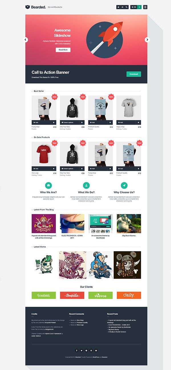 Bearded – theme WordPress bán hàng miễn phí với thiết kế phẳng
