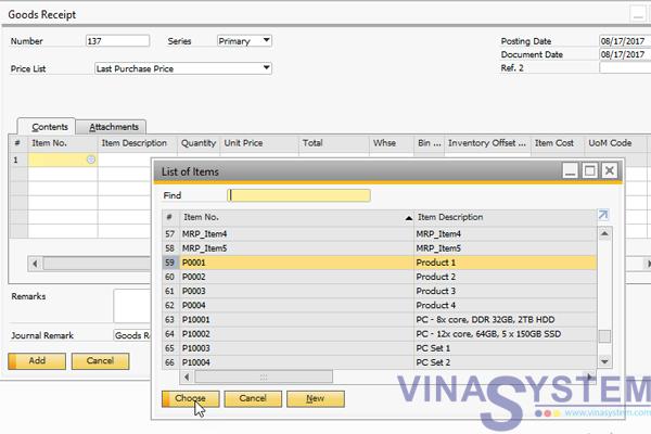 Hướng dẫn sử dụng phân hệ Inventory trong SAP Business One